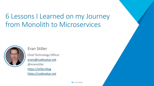 6 Lessons I Learned on my Journey from Monolith to Microservices Slide Cover