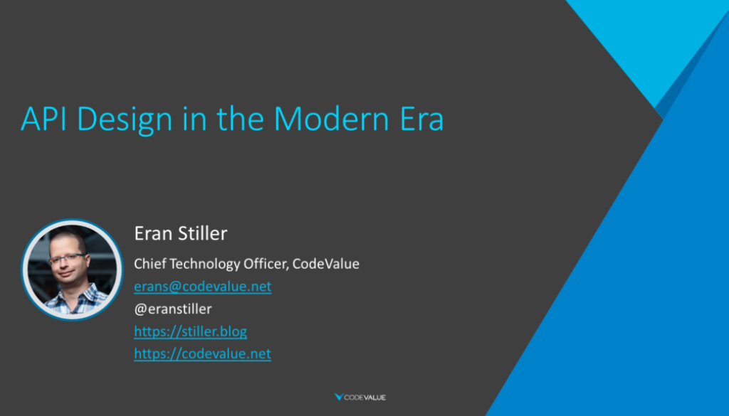 "Cover slide of ""API Design in the Modern Era"""